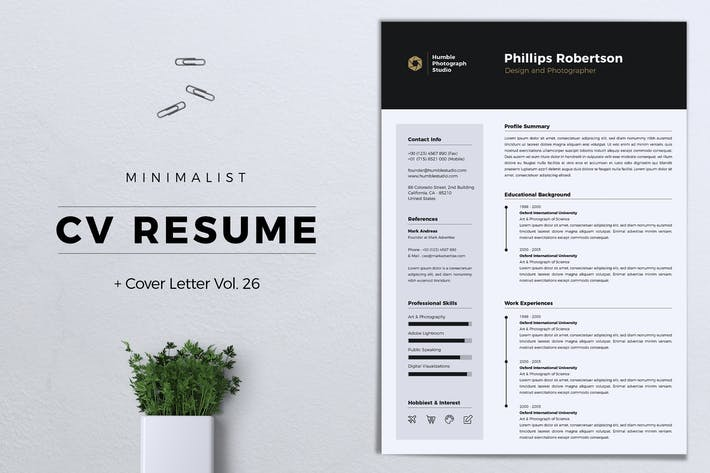 Thumbnail for Minimalist CV Resume Vol. 26