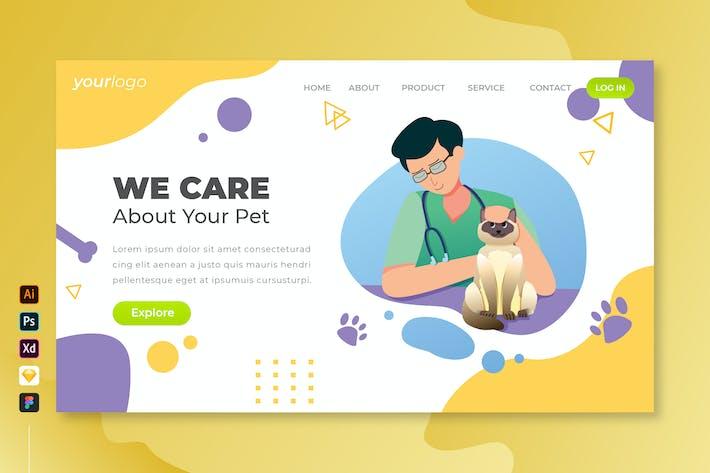 Thumbnail for Wir kümmern uns um Ihr Haustier - Vektor Landing Page Bd.2