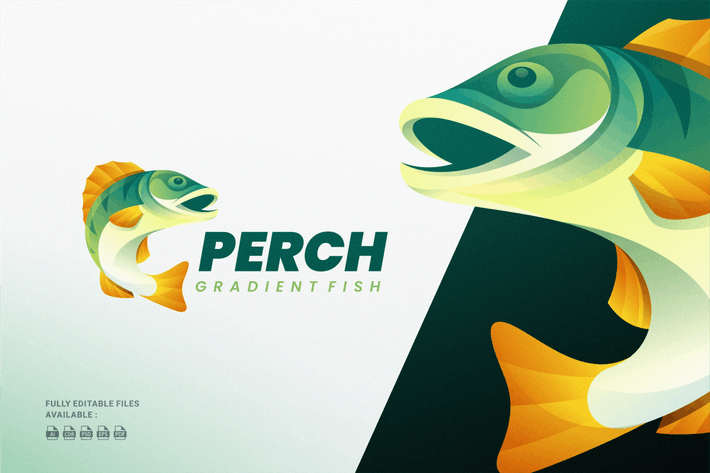 Thumbnail for Perch Fish Gradient Colorful Logo