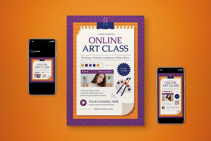 Ensemble de dépliant de classe d'art en ligne