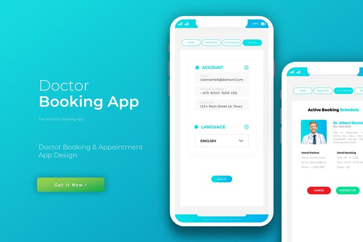 Thumbnail for App Doctor Book | App Design Template