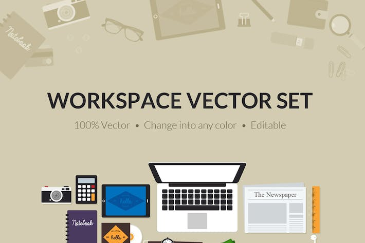 Cover Image For Flat Creative Workspace Tools