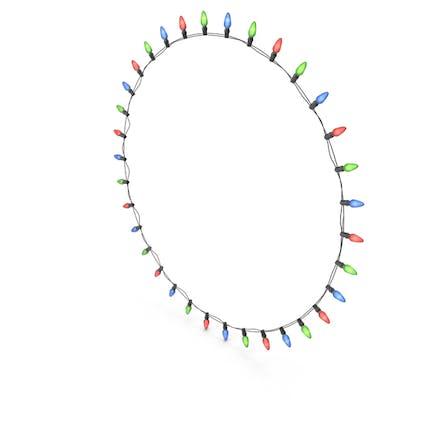 Farbige Glühbirnen kreisförmige Linie auf