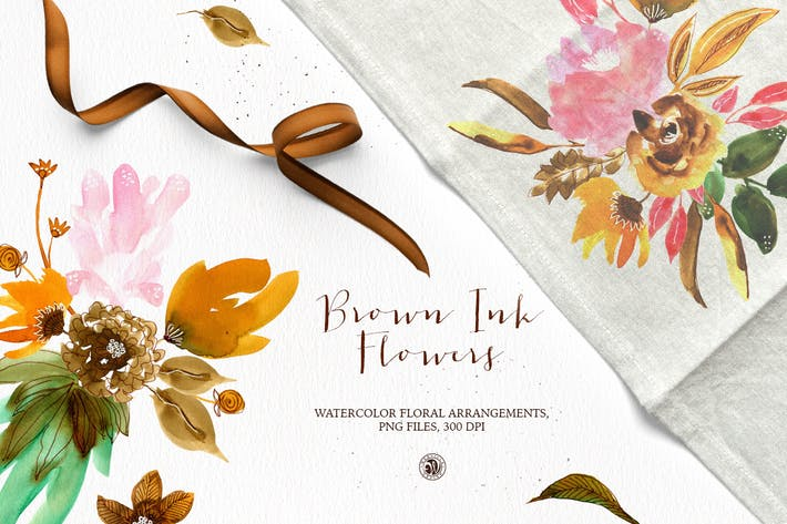 Thumbnail for Brown Ink Flowers