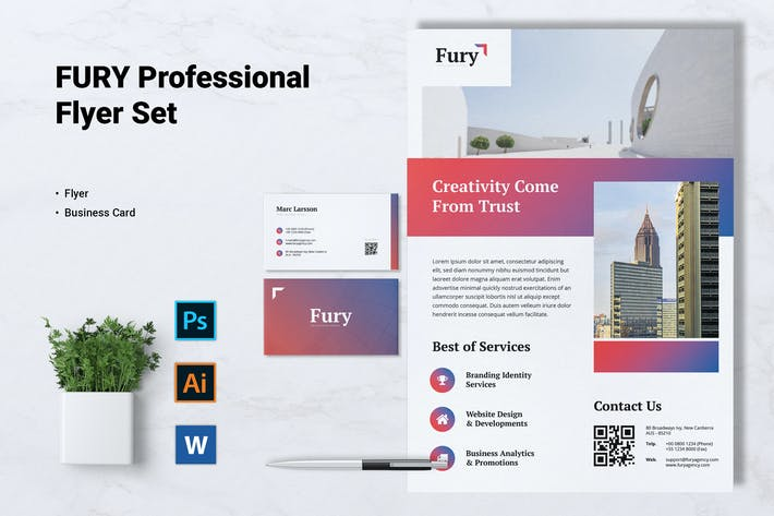 Thumbnail for FURY Creative Agency Flyer & Business Card