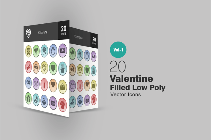 Thumbnail for 20 Valentine Filled Low Poly Icons