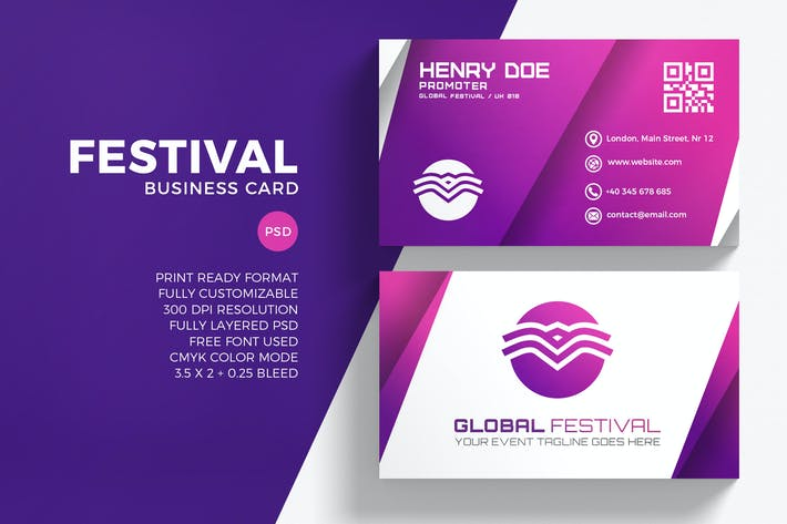 Cover Image For Festival Business Card Template