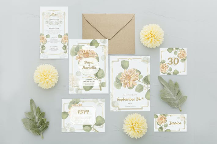 Thumbnail for Watercolor Paper Flower - Wedding Invitation