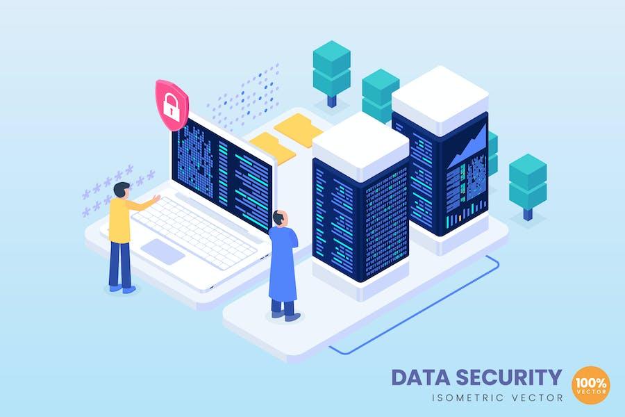 Isometric Data Security Concept