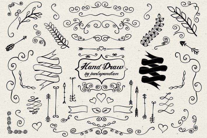 Cover Image For Hand draw arrows, ornament cliparts