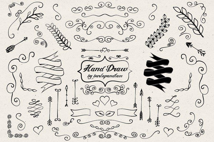 Hand draw arrows, ornament cliparts