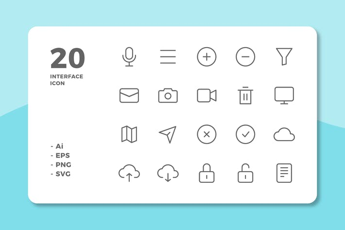 Thumbnail for 20 Interface Icons Vol.2 (Line)