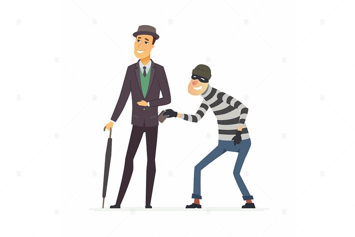 Thumbnail for Pickpocket stealing wallet - vector illustration