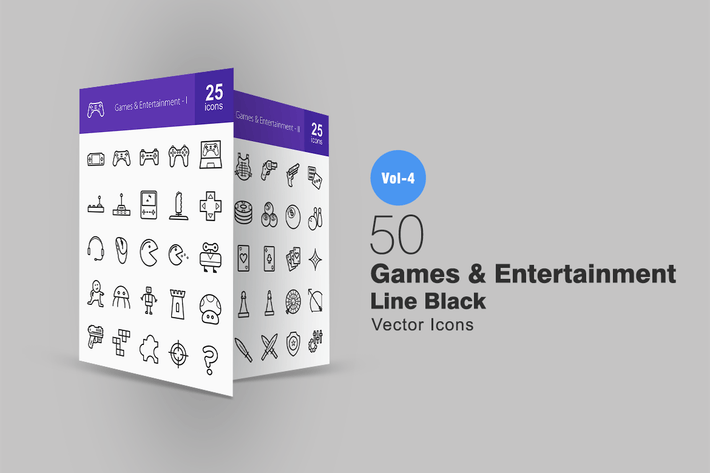 Thumbnail for 50 Games & Entertainment Line Icons