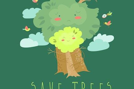 Umweltfreundlich. Ökologie-Konzept mit Zeichentrickbäumen.
