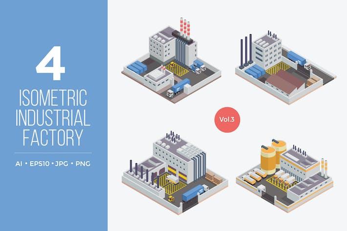 Thumbnail for Isometric Industrial Factory Vector Set 3