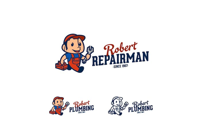 Cover Image For Repairman/Plumber Character Illustrative Logo
