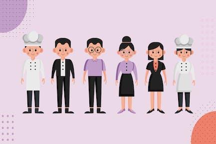 Restaurant Mitarbeiter - Ilustration Zeichensatz