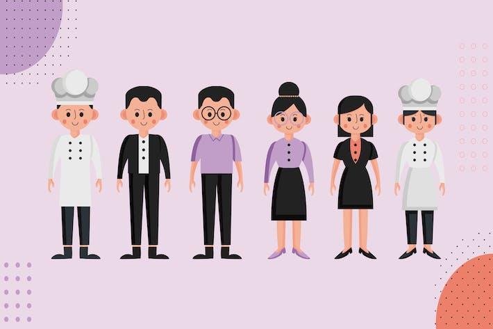 Thumbnail for Restaurant Mitarbeiter - Ilustration Zeichensatz