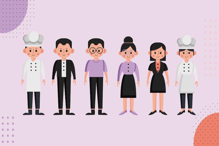 Сотрудник ресторана - Набор персонажей «Илюстрация»