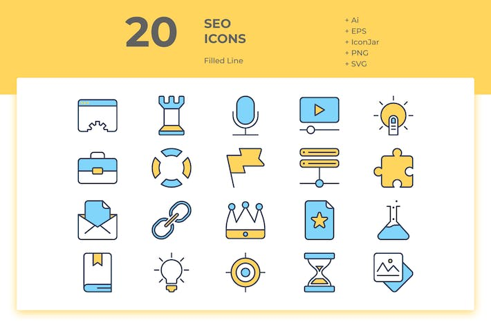 Thumbnail for 20 SEO Icons Vol. 1 (Filled Line)