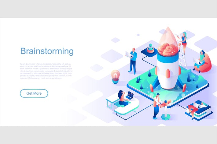 Thumbnail for Brainstorming Isometric Flat Concept Header