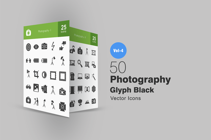 Thumbnail for 50 Photography Glyph Icons