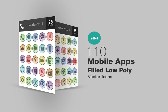 Thumbnail for 110 Mobile Apps Filled Low Poly Icons