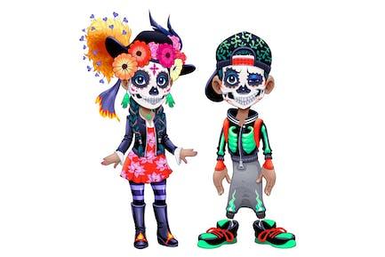 Personajes celebrando el Halloween mexicano