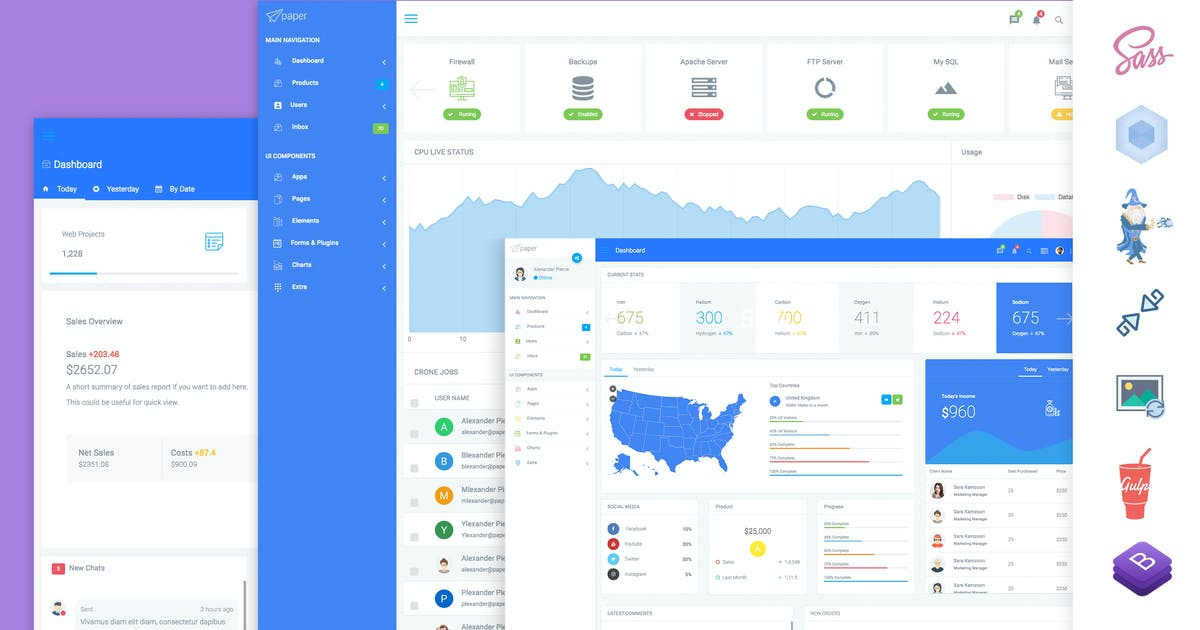 Download Paper Panel Bootstrap 4 Admin Dashboard Template by xvelopers