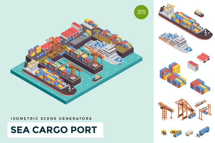 Thumbnail for Isometric Sea Cargo Port Vector Scene Creator
