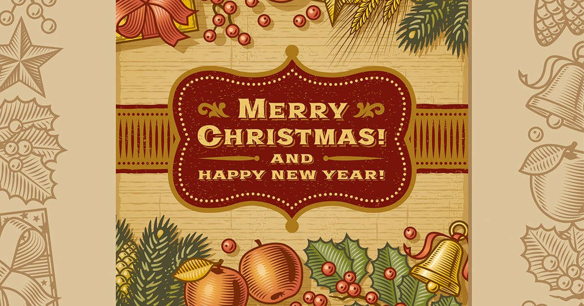 Download Vintage Merry Christmas Card by iatsun