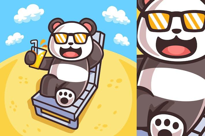 Ilustración de Panda tomar el sol en temporada de verano