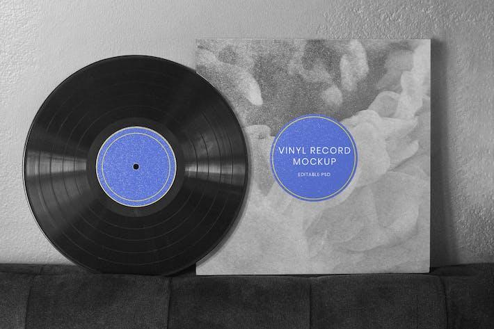 Retro black vinyl cover mockup design
