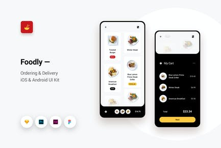 Foodly - Ordering Delivery iOS & Android UI Kit 1