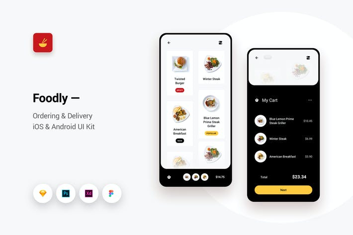 Thumbnail for Foodly - Ordering Delivery iOS & Android UI Kit 1