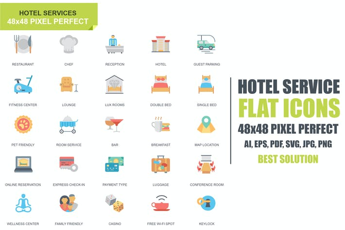 Thumbnail for Simple Set Hotel Service Flat Icons