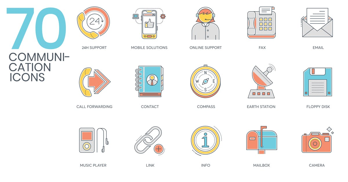 Download 70 Communication Icons - Color Line Series by Krafted