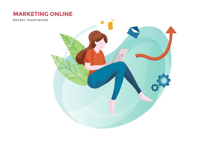 Thumbnail for Woman online marketing vector illustration