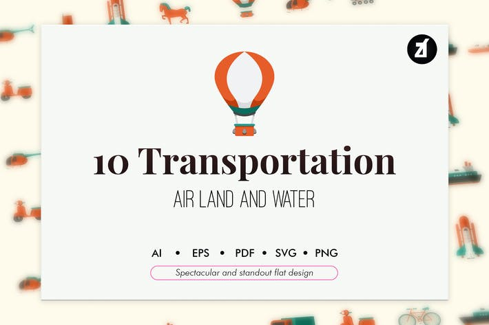Thumbnail for 10 Transportation elements in flat design