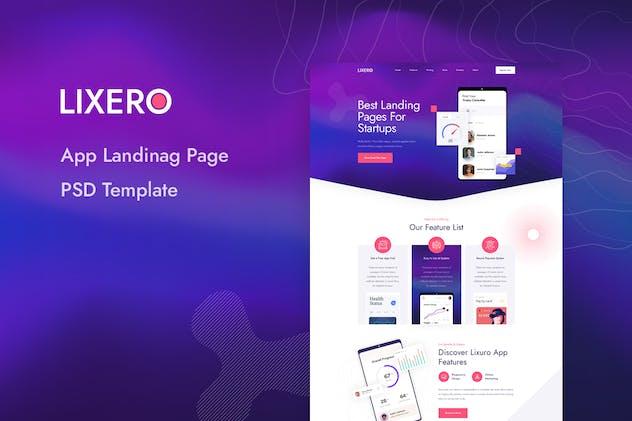 Lixero - App Landing Page PSD Template