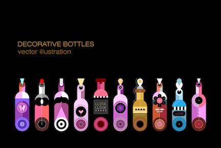 Decorative Bottles vector design