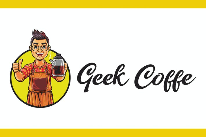 Thumbnail for Cartoon Geek Kaffee Maskottchen Logo