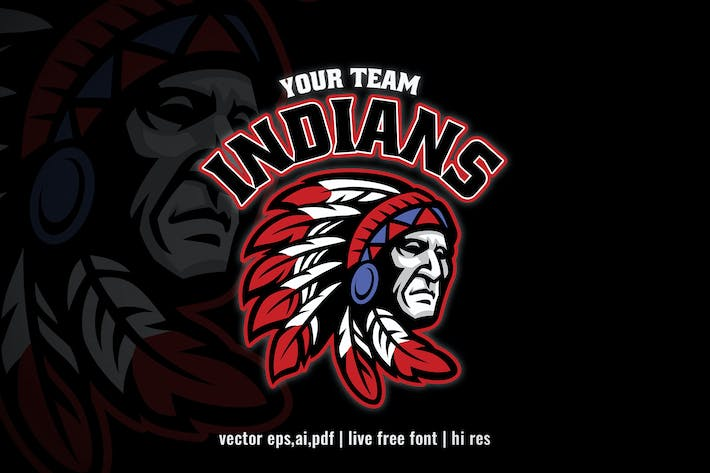 indian chief mascot sport and e-sport logo