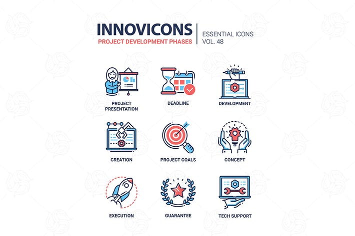 Thumbnail for Project Development Phases - line design icons set