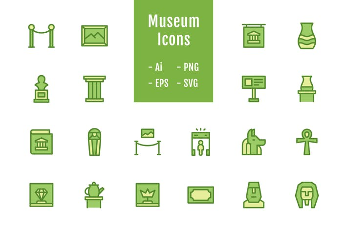 Thumbnail for 20 Museum Icons (Lineal Color)