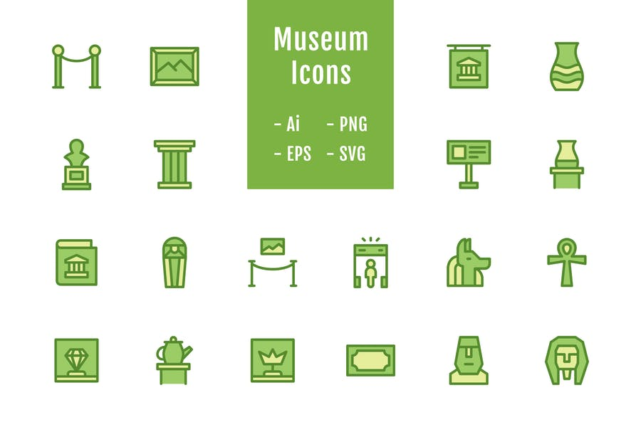 20 Museum Icons (Lineal Color)