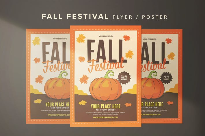 Thumbnail for Fall Festival Flyer With Graphic Pumpkin