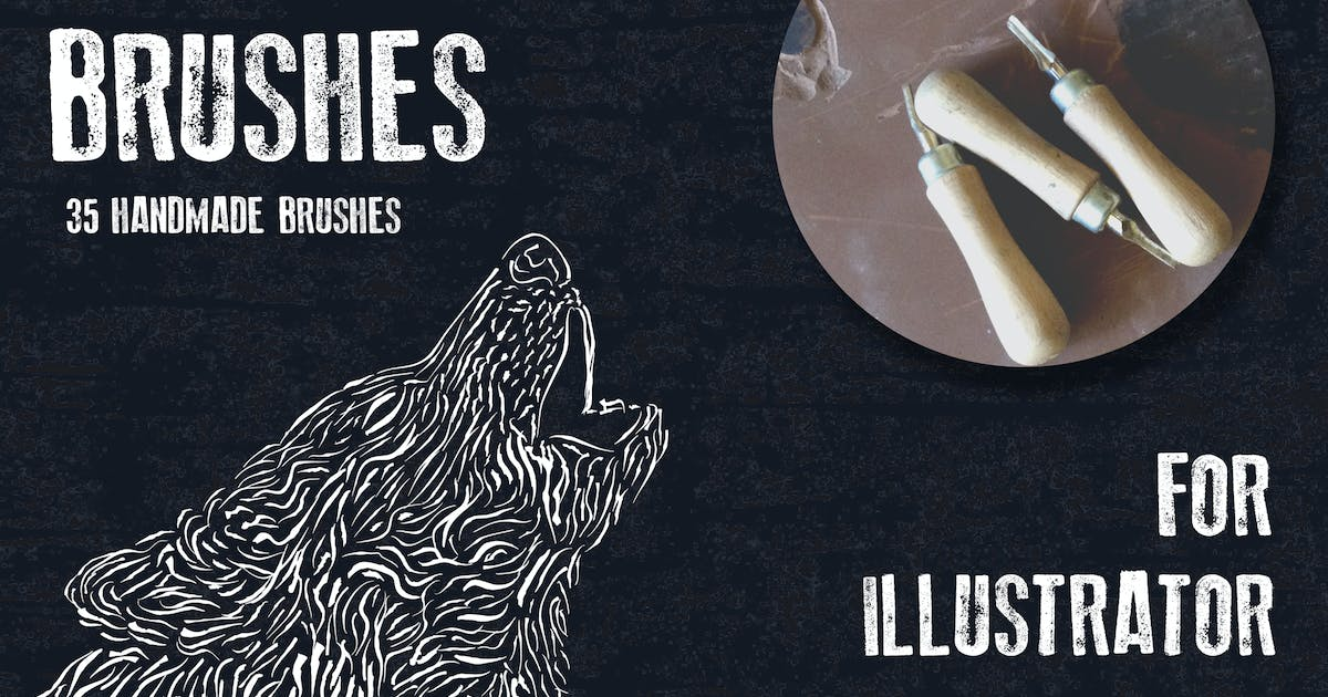 Download Linocut Brushes for Adobe Illustrator by guerillacraft