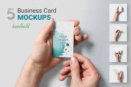 5 Handheld Business Card Mockups